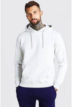 Silver Basic Over The Head Fleece Hoodie