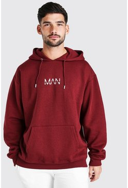 Burgundy Oversized Original MAN Over The Head Hoodie