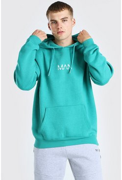 Green Oversized Original MAN Over The Head Hoodie