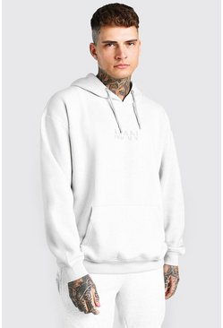Silver Oversized Original MAN Over The Head Hoodie