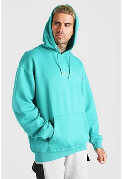 Green Oversized MAN Signature Over The Head Hoodie