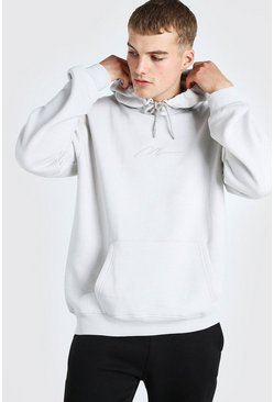 Silver Oversized MAN Signature Over The Head Hoodie