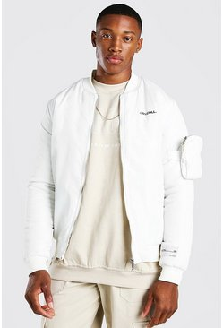 White MA1 3D Pocket Detail Bomber Jacket