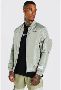 Sage silver MA1 3D Pocket Detail Bomber Jacket
