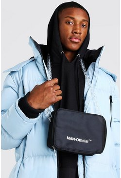 Black MAN Multi Pocket Bag With Chain Strap