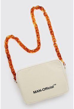 Cream MAN Multi Pocket Bag With Chain Strap