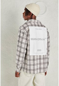Beige Oversized Flannel Check Shirt With MAN Official Back Print