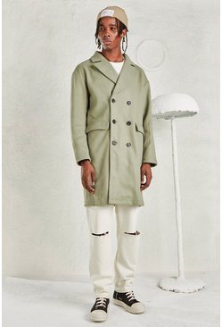 Sage silver Relaxed Fit Unlined Overcoat
