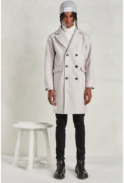 Grey Relaxed Fit Unlined Overcoat