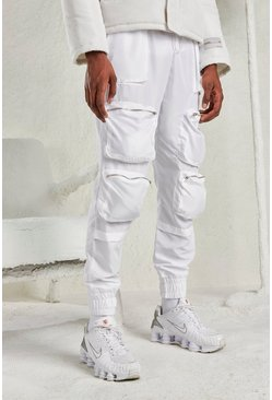 White Deep Cuff Utility Pocket Joggers