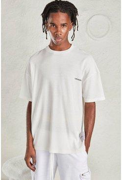 White MAN Oversized Waffle T-Shirt
