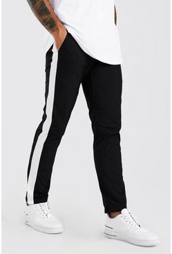 Black Nylon Trouser With Side Panel