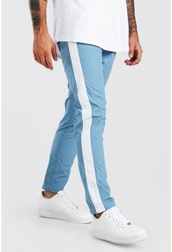 Blue Shell Trouser With Side Panel