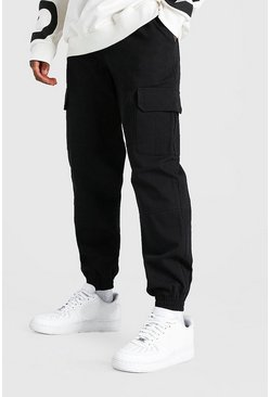 Black Regular Fit Twill Cargo Trouser With Cuff