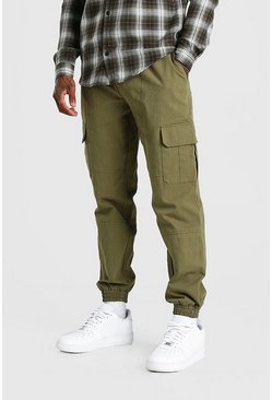 Khaki Regular Fit Twill Cargo Pants With Cuff