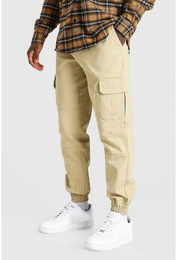 Stone Regular Fit Twill Cargo Trouser With Cuff