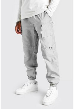 Light grey Shell Cargo Pants With 3D Pockets