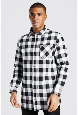 White Long Sleeve Longline Check Shirt