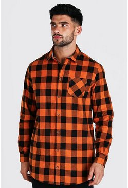 Orange Long Sleeve Longline Check Shirt
