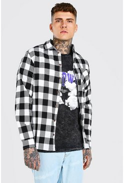 White Long Sleeve Regular Fit Check Shirt