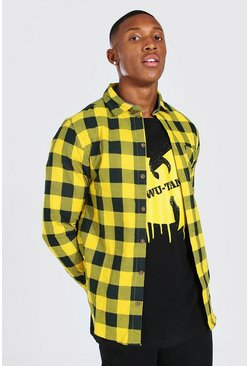 Yellow Long Sleeve Regular Fit Check Shirt