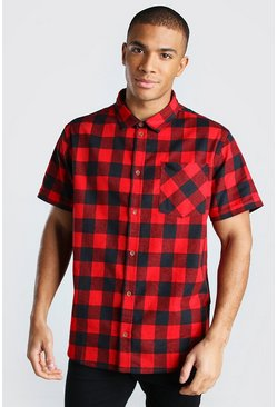 Red Short Sleeve Regular Fit Check Shirt