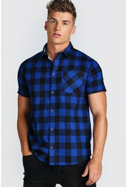Blue Short Sleeve Regular Fit Check Shirt