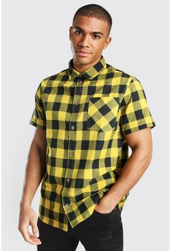 Yellow Short Sleeve Regular Fit Check Shirt