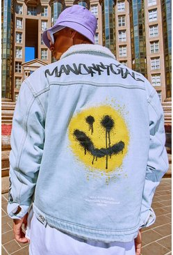 Light blue MAN Graffiti Borg Lined Denim Jacket