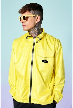 Yellow Funnel Neck Oversized Cagoule
