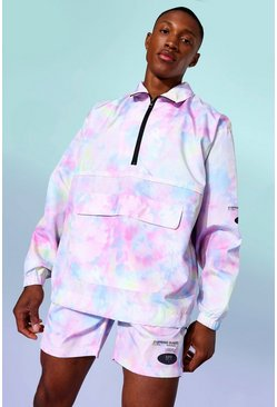 Multi Tie Dye Funnel Neck Oversized Cagoule