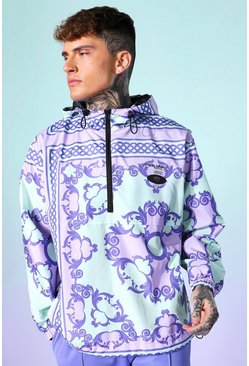 Mint Baroque Hooded Oversized Cagoule