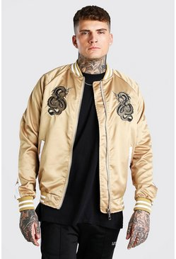 Gold Embroidered Satin Bomber