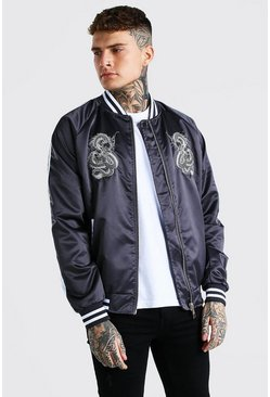 Bomber universitaire en satin brodé, Charcoal