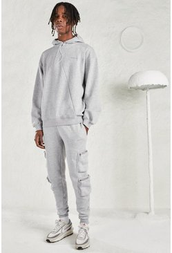 Grey marl MAN Oversized Hoodie & Utility Jogger Tracksuit