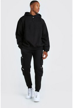 Black MAN Oversized Hoodie & Utility Jogger Tracksuit