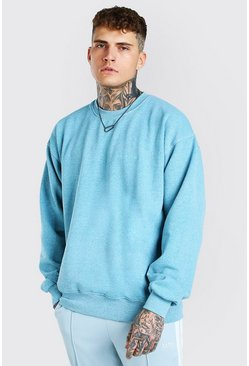 Blue Oversized Man Official Marl Overdye Sweatshirt