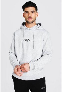 Grey MAN Signature Over The Head Hoodie