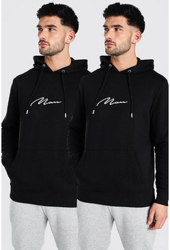 Black 2 Pack MAN Signature Over The Head Hoodie
