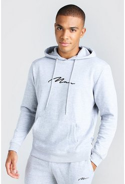 Grey marl 2 Pack MAN Signature Over The Head Hoodie