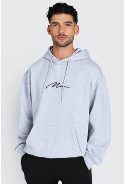 Grey Oversized MAN Signature Over The Head Hoodie