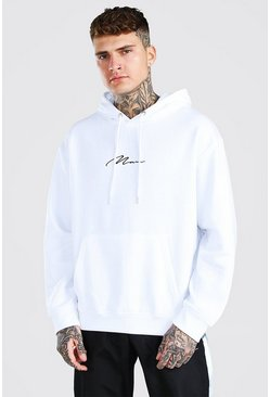Sweat à capuche oversize à enfiler MAN Signature, Blanc