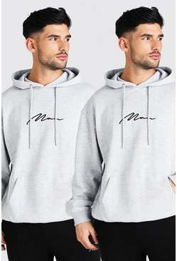 Grey marl 2 Pack Oversized MAN Signature OTH Hoodie