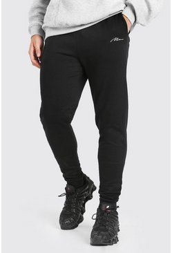 Black MAN Signature Embroidered Skinny Jogger