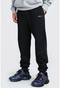 Black MAN Signature Embroidered Loose Fit Jogger