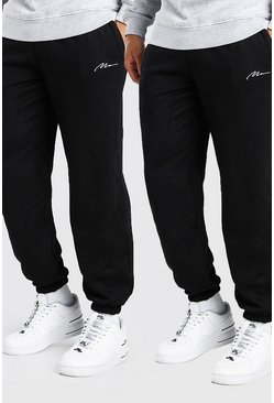 Lot de 2 joggings coupe ample MAN Signature, Noir