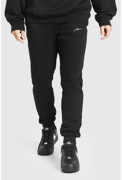 Black MAN Signature Embroidered Slim Fit Jogger