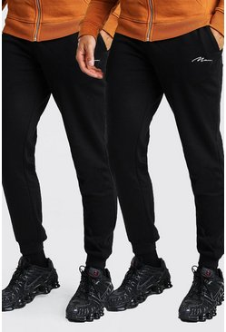 Black 2 Pack MAN Signature Slim Fit Jogger