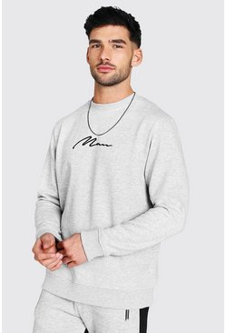 Sweat-shirt signature MAN brodée, Gris chiné