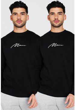 Black 2 Pack MAN Signature Embroidered Sweatshirt